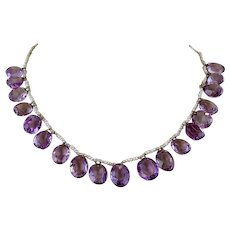 Antique Victorian 10k Gold Amethyst Gemstone Seed Pearl Festoon Necklace