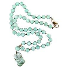 9k Gold Carved Jadeite Jade Pendant Beaded Necklace