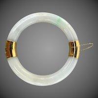 Chinese 14k Gold Natural Jadeite Jade Bangle Bracelet