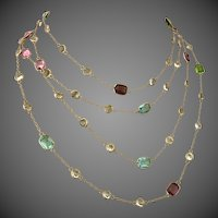 Antique European 9K Gold Harlequin Paste Crystal Guard Chain Necklace
