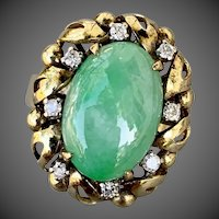 Retro 14k Gold Diamond Jadeite Jade Ring