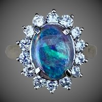 Platinum Diamond Opal Gemstone Ring