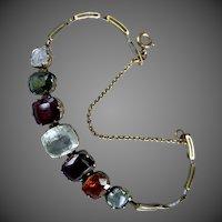 Antique Edwardian Harlequin  Multi Gemstone Zircon Garnet Tourmaline Rock Crystal Garnet Bracelet