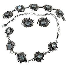 Antique Arts & Crafts Sterling Silver Moonstone Necklace Bracelet and Earrings Parure Set