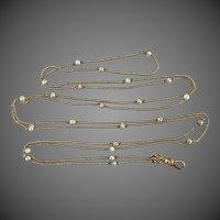 Antique Victorian 14k Gold Pearl Watch Guard Chain Necklace