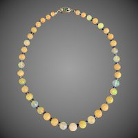 18k Gold Opal Kyanite Diamond Emerald Multi Gemstone Beaded Necklace