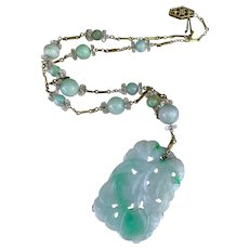 Art Deco 14K Gold Chinese Carved Jadeite Quartz Rock Crystal Seed Pearl Pendant Beaded Necklace