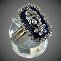 Antique Georgian Diamond Forget Me Knot Bristol Glass 9k Gold Silver Ring