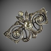 Antique Georgian Riviere Rose Cut Diamond Silver Gold Brooch Pin