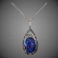 9k Gold Colorful Opal Gemstone Pendant Necklace