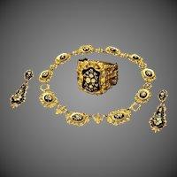 Antique Victorian Biedermeier Enamel Pinchbeck Necklace Bracelet Night Day Earrings Suite Parure