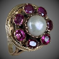 Antique 10k Gold Tourmaline Gemstone Pearl Ring