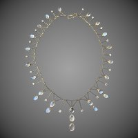 European 9k Gold Glowing Moonstone White Sapphire Fringe Necklace
