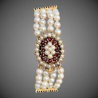 9K Gold Cultured Pearl Garnet Multi Strand Bracelet