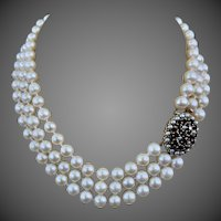 9k Gold Triple Strand Cultured Pearl Garnet Gemstone Necklace