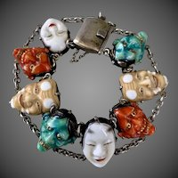 Art Deco Japanese Kabuki Enamel Mask Silver Bracelet