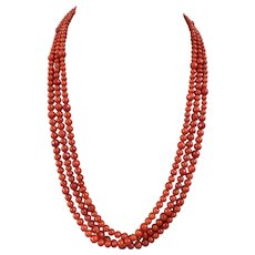 14k Gold Antique Natural Coral Triple Strand Faceted Beaded Necklace