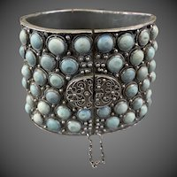 Antique Qing Dynasty Chinese Silver Turquoise Cuff Bracelet Heavy