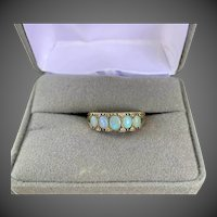 Antique Edwardian 9k Gold Opal Diamond Ring