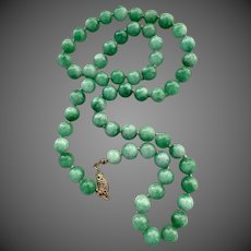 14k Gold Jadeite Jade Beaded Necklace