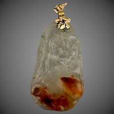 14k Gold Chinese Carved Translucent Jade Jadiete Pendant for Necklace