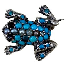 Antique Victorian Turquoise Seed Pearl Garnet Frog Brooch Pin