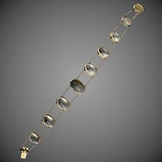 14k Gold Agate Quartz Rock Crystal Gemstone Bracelet