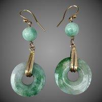 Art Deco Chinese 10k Gold Jadeite Jade Gemstone Earrings