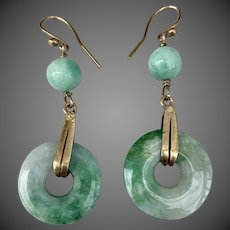 Art Deco Chinese 10k Gold Jadeite Jade Gemstone Earrings