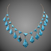 10k Gold Persian Turquoise Gemstone Necklace Personal Gift From Royalty