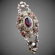 Antique Austro Hungarian Citrine Seed Pearl Silver Bracelet