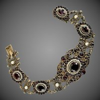 Austro Hungarian Bohemian Garnet Seed Pearl Gilt 800 Silver Bracelet