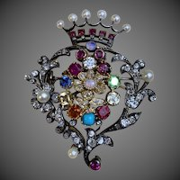 Hold Antique Belle Époque 18k Gold Silver 2.25 Carats Riviere Diamond Ruby Opal Sapphire Pearl Citrine Turquoise Multi Gemstone Crown Pin Brooch