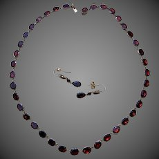 Antique Georgian Rivière 9K Gold Garnet Gemstone Necklace Earrings Set Suite Parure