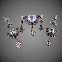 Rare Riviere Georgian Girandole Tourmaline Quartz Rock Crystal Multi Gemstone Earrings Brooch Pin Suite