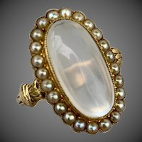 HOLD FOR F Antique Edwardian 18K Gold Moonstone Seed Pearl Ring