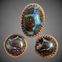 Retro 14k Gold Boulder Opal Ring and Earrings Suite Set Pararue