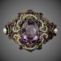 Antique Victorian Austro Hungarian Amethyst Seed Pearl Gilt 800 Silver Bracelet