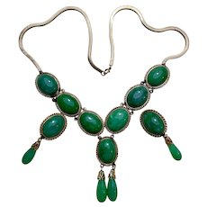 Art Deco 14k Gold Jadeite Jade Necklace Earrings Suite Pararue Set
