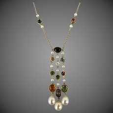 14k Gold Diamond Citrine Aquamarine Peridot Tourmaline Pearl Multi Gemstone Necklace