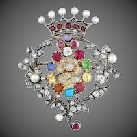 Antique 18k Gold Silver 2.25 Carats Riviere Diamond Ruby Opal Sapphire Pearl Citrine Turquoise Multi Gemstone Pin Brooch Pendant for Necklace