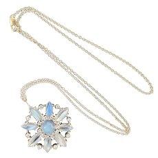Platinum Glowing Moonstone Diamond Pendant Necklace