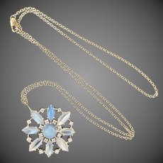 Platinum Glowing Moonstone Diamond Pendant Necklace