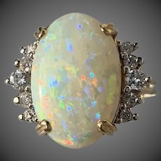 14k Gold 4.42 Carats Opal Diamond Gemstone Ring
