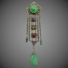 Antique Chinese Carved Jadeite Jade Sapphire Ruby Citrine Multi Gemstone Chatelaine Brooch Pin