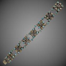 Hungarian Austro Antique 800 Silver Turquoise Garnet Bracelet
