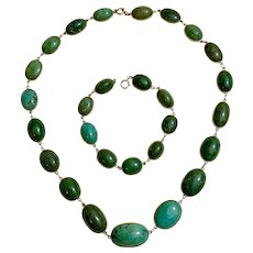 Antique Edwardian Black Starr & Frost 14k Gold Turquoise Necklace Bracelet Set