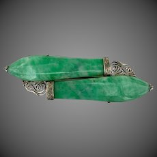 Chinese Jadeite Jade Silver Bar Brooch Pin