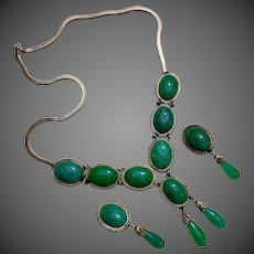 Art Deco 14k Gold Jadeite Jade Necklace Earrings Suite Pararue Set
