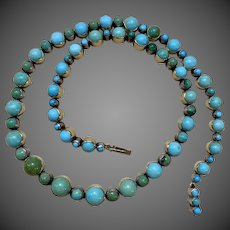 Antique Victorian Natural Cabochon Turquoise Silver Gold Necklace
